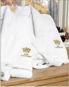 Bon CœUr Sa Seigneurie Et Sien Comtesse Peignoirs De Bain Robe De Chambre En Coton Blanc-afficher Le Titre D'origine MatéRiaux De Choix