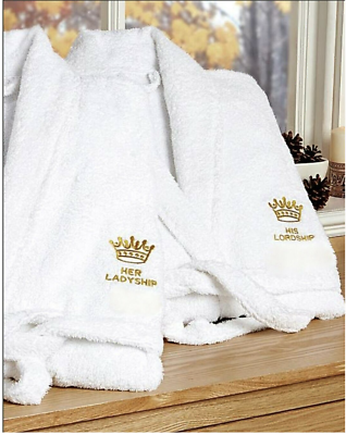 His Lordship And Hers Ladyship Bath Robes Dressing Gown White Cotton