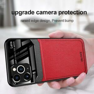 For iphone 11 12 Pro Max Defender Glass Case  Shockproof Leather Grain Silicone