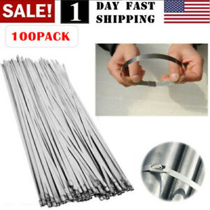 """100PCS 304 Stainless Steel 12/"""" Exhaust Wrap Coated Metal Locking Cable Zip Ties"""