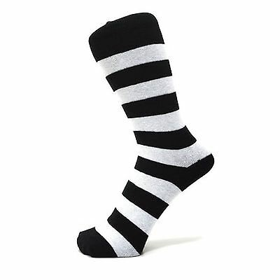 Black And Turquoise Blue Thick Striped Ankle Socks Size: 6-11