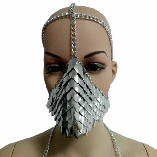 UK STOCK Halloween Head Chain Mask Burning man Unique Metal Face Jewelry Cosplay