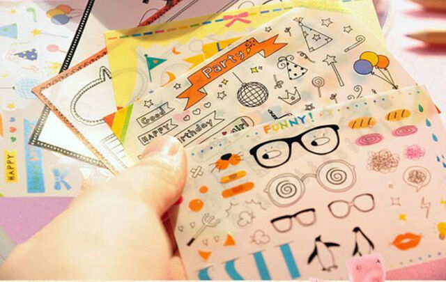 Small 6 sheets party transparent diary album diy decoration stickers