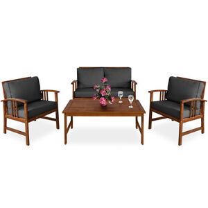 Détails sur Salon de jardin Atlas bois d\'acacia ensemble canapé fauteuils  coussin anthracite