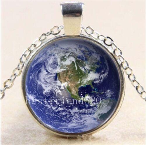 Blue Earth Photo Cabochon Glass Tibet Silver Chain Pendant Necklace