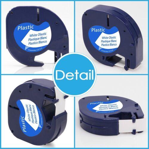 10PK Letra Tag DYMO Compatible Label Tape 91331 12mm White LT Plastic Labelmaker