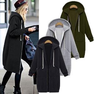Damen Jacke Kapuzenpullover Zipper Mantel Sweatshirt Lang Parka Coat Hoodie Neu
