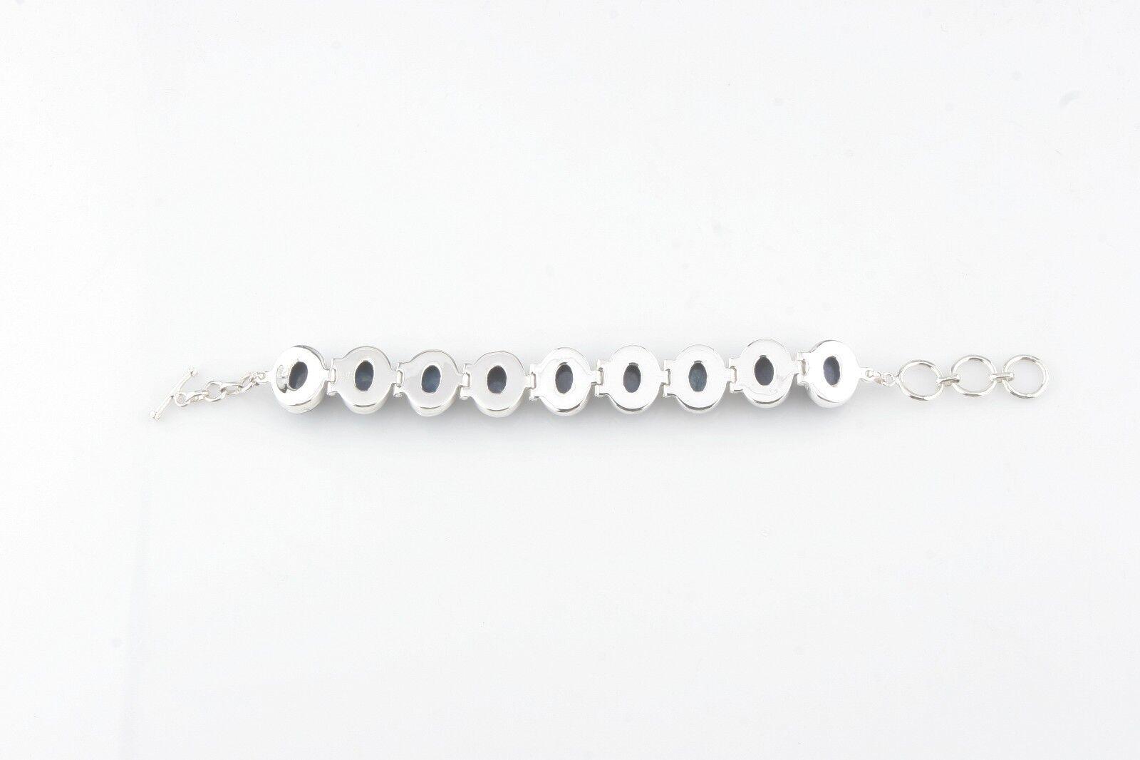 Brillante Brillante Brillante Sfaccettato Spessa Grezza Zaffiro argentoo Sterling fc2728