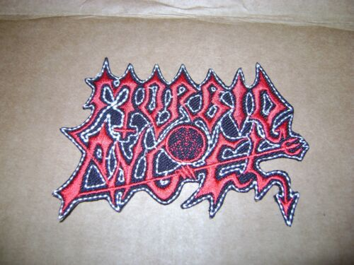 MORBID ANGEL,IRON ON RED WITH WHITE EDGE EMBROIDERED PATCH