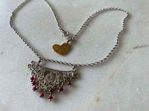 MERCEDES SALAZAR Fine Filigree Necklace w Garnets