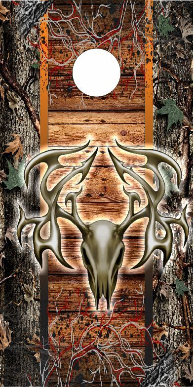 Deer Skull Camo Wood Vines LAMINATED Cornhole  Wrap Bag Toss Skin Decal  60% off