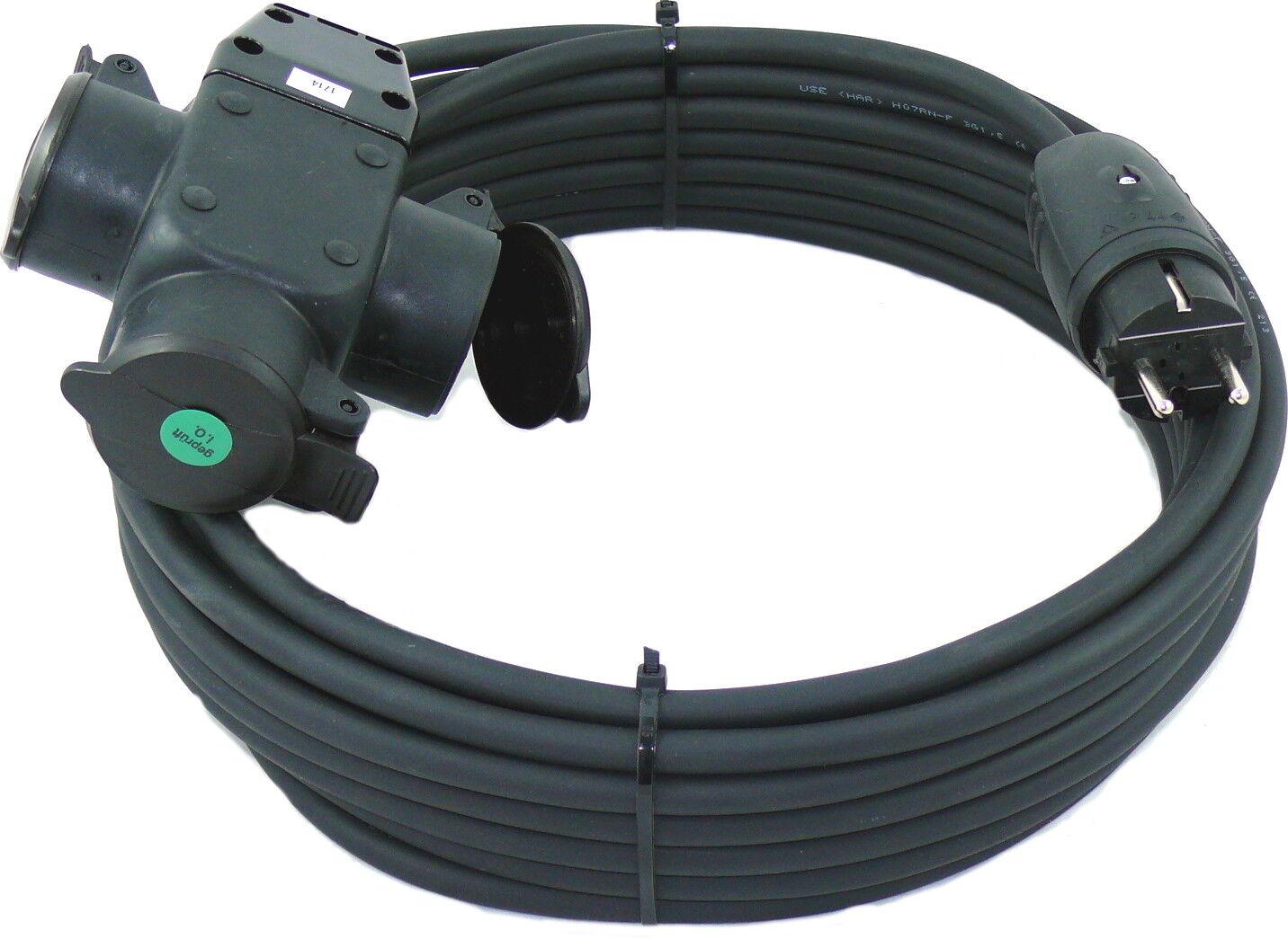 m 40m Schuko Verlängerungskabel 3x1,5 mm² mit 3-fach Kupplung 3G1,5 Außen
