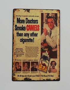1950s-Vintage-Advertising-Tin-Plate-Metal-Signs-Camel-Cigarettes-Tobacco