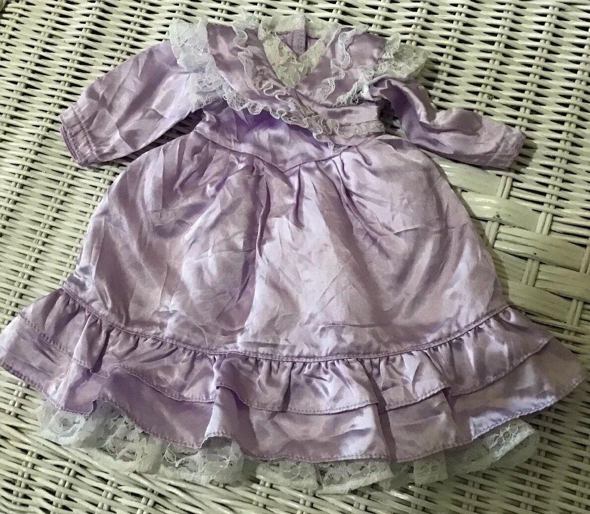 American Girl Doll Samantha Purple Satin With Lace Bridesmaid Dress