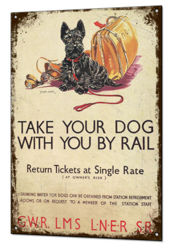 Chien Train Railway Poster Vintage Metal Sign rétro Tin plaque pub