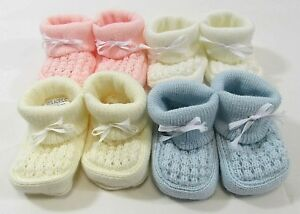 db5f476b3e36 Baby Booties Boots Socks Shoes Knit Bow Slip On Pink Blue Cream ...