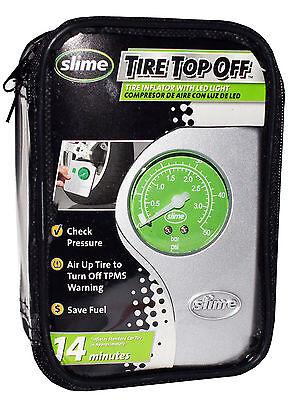slime AUTO CAR Tire Top Off COMPRESSOR INFLATOR LED LIGHT 12V Check Pressure HQ