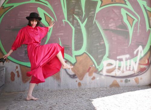 Robe femme années Party pour manches chauve souris Party Robe Festival True des rose Festival brillante Shiny 90 ZxCZrw