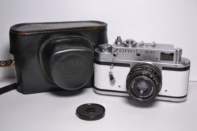 ZORKI 4K White body Soviet / Russian 35mm Rangefinder Camera, Industar-50