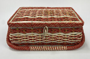 VTG-Sewing-Basket-Woven-Wicker-Red-Satin-Fabric-Padded-Top-amp-Lining-Japan-AA