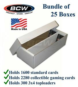 25 Bcw 1600 Count 2 Row Durable Cardboard Card Storage Shoe Boxes Fit Coin Slabs 722626226106 Ebay
