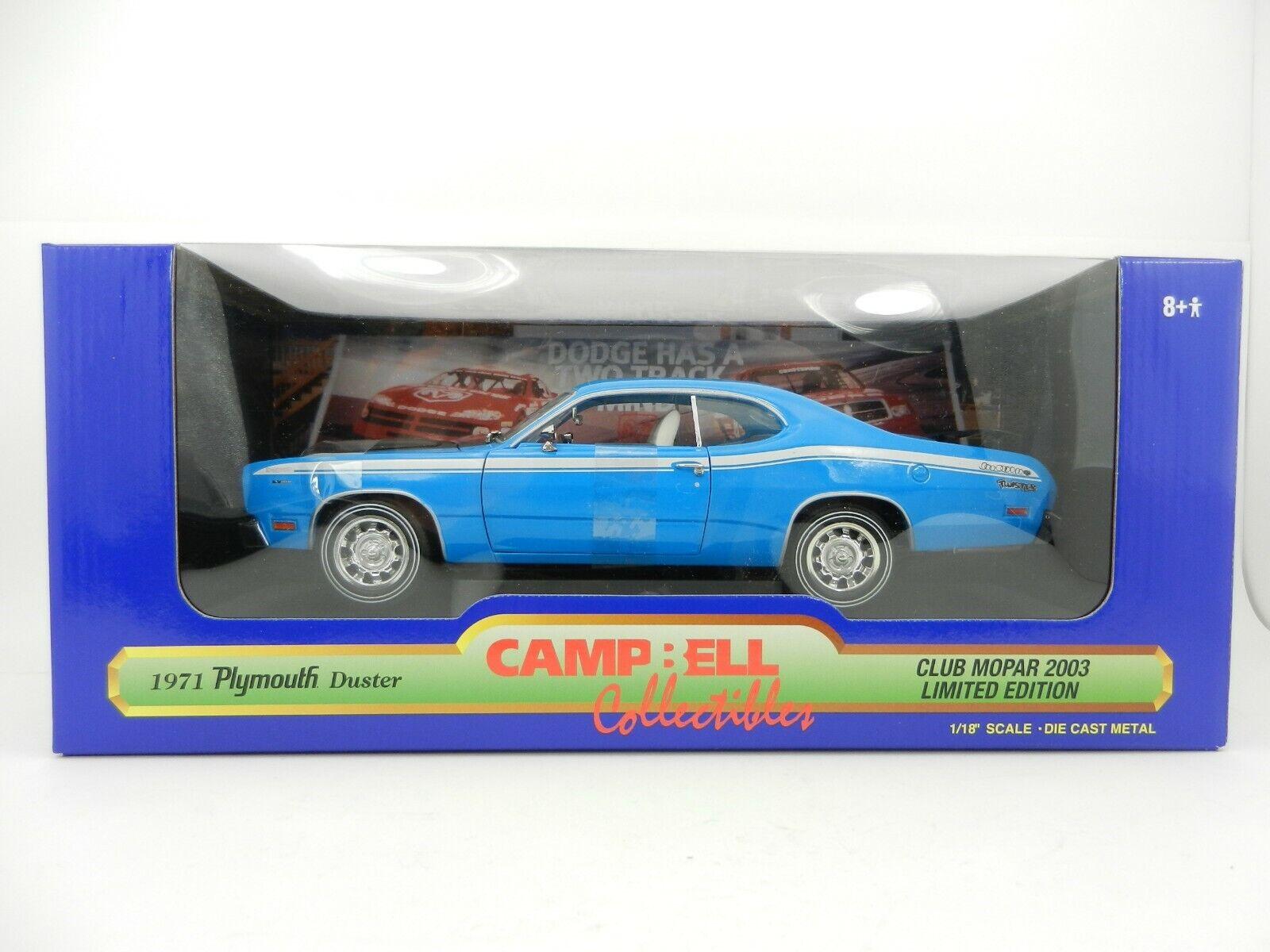 1 18 ERTL CAMPBELL COLLECTIBLES Blau 1971 Plymouth DUSTER NIB