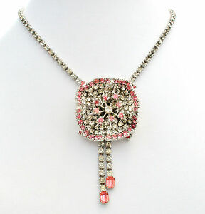Vintage-Pink-and-Clear-Flower-Rhinestone-Necklace-Layered-Rockabilly-Jewelry