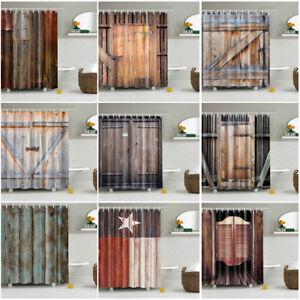 Wood-Pattern-Waterproof-Bathroom-Fabric-Shower-Curtain-With-12-Hooks-Stylish