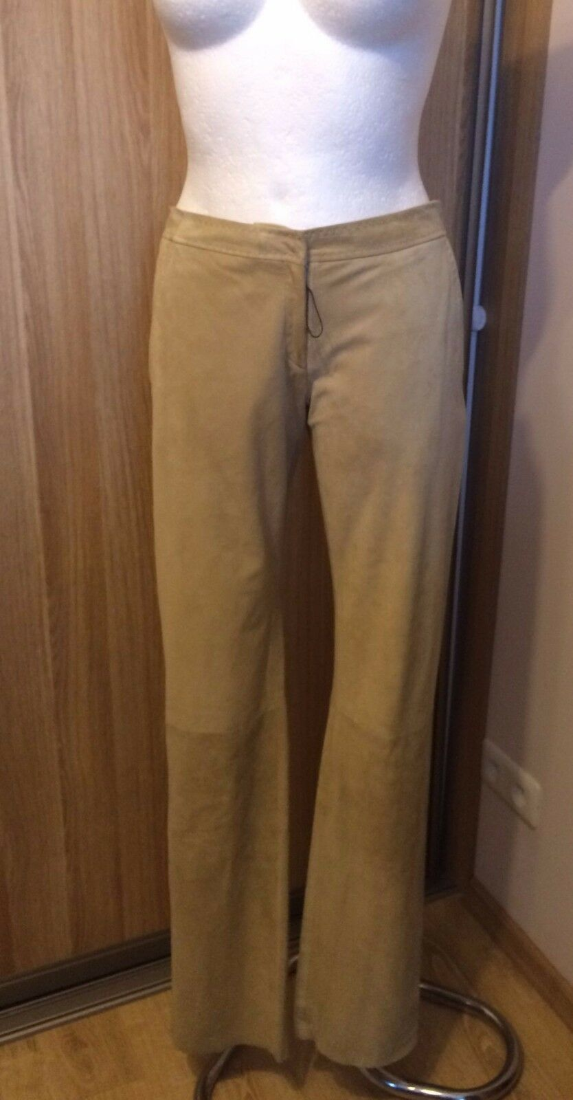 ERMANNO SCERVINO Women's Real thin soft Leather suede  pant trausers size 40 M