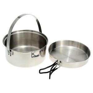 2pcs Stainless Steel Camping Cookware Mess Kit with Pot and Frypan for P0H3