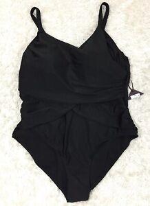 41229a907566f AVA   VIV Womens One Piece SWIMSUIT w Bra SZ 24 W BLACK draped ...