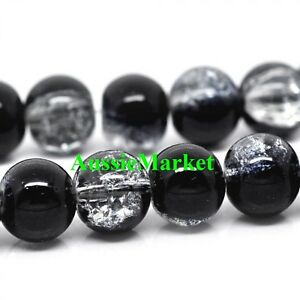 crackle glass beads clear