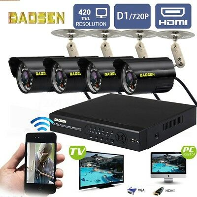4CH Wireless 1080P WIFI Home Surveillance CCTV Camera Security System HDMI DVR