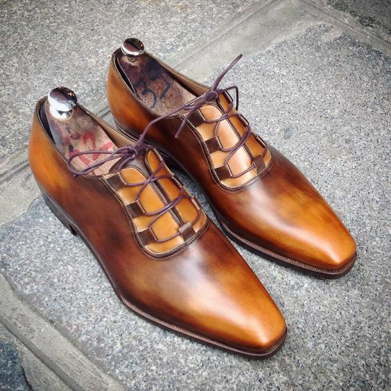 Handmade tan tan tan party wedding dress shoes, office shoes for men, real leather shoes 24dbfa