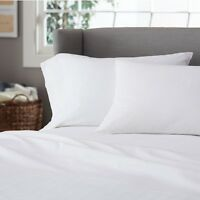 1 Full Size White sheet Set 250tc Percale Hotel 1 Flat 1 Fitted 2 Pillow Cases on sale