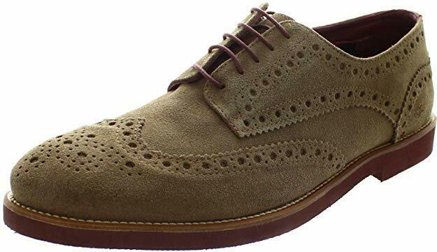 SALE Mens London Brogue Francis Taupe Suede Wingtip 5 Eyelet Lace-up shoes
