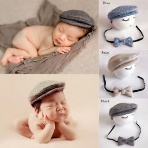 a8e0fd01 Baby Newborn Peaked Beanie Cap Hat Bow Tie Photo Photography Prop ...