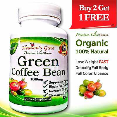 Green Coffee Bean Extract Organic Weight Loss Detox 1000mg 100