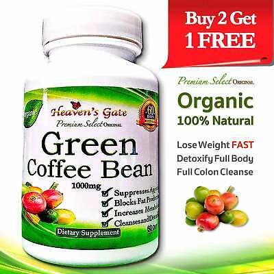 Green Coffee Bean Extract Organic Weight Loss Detox 1000mg 100