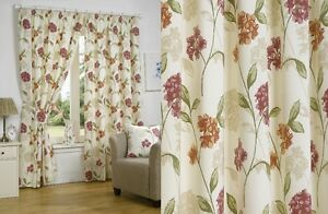 PLAIN-BOUQUET-FLORAL-COTTON-READY-MADE-FULLY-LINED-CURTAINS-3-034-PENCIL-PLEAT-TOP