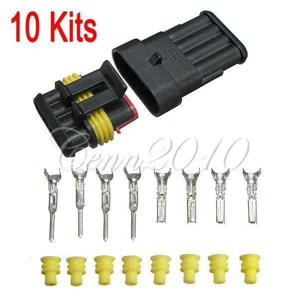 10 Kit 4 Pin Way Sealed Waterproof Electrical Wire Connector Plug Set 【TRACK US】