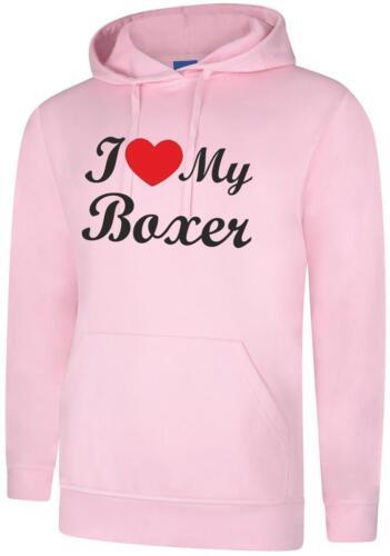 I Love My Boxer Dog Gift Present Unisex Hoody Hoodie Hooded Sweatshirt