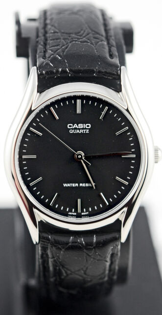 Casio MTP-1094E-1A Men's Black Silver Analog Watch Leather Band Quartz New