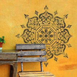 Bukhara-Mandala-indisch-Kreis-Schablone-Moebel-Wand-Boden-Schablone-fuer