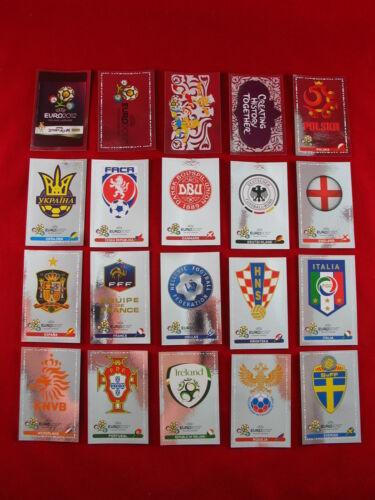 1-4 Event Kick Off = 20 Glitzer EM 12 Panini Euro 2012 alle 16 Wappen Nr