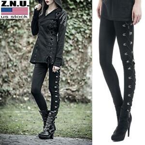 Womens-Gothic-Punk-Leggings-High-Waist-Skinny-Pencil-Pants-Ladies-Long-Trousers