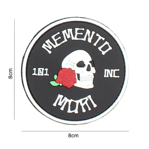 Memento Mori Skull Patch Klett Logo Abzeichen Airsoft Paintball Tactical Softair