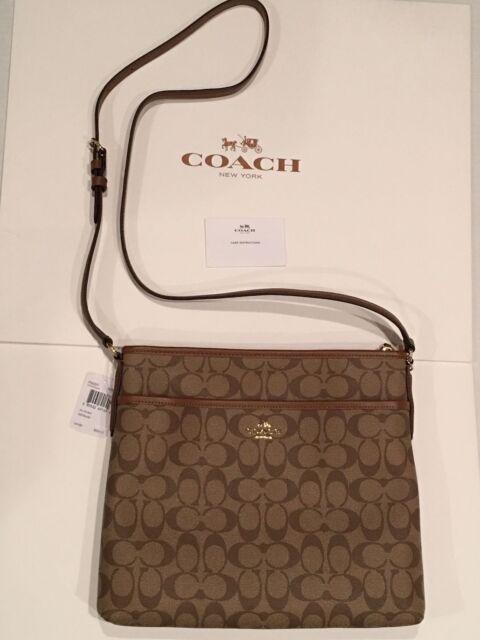 7700191aa7ac Coach F58297 Signature File Bag Crossbody Sling Purse Khaki saddle ...