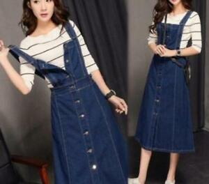Korean-Suspender-Skirt-Casual-Dress-Womens-Long-Denim-Jeans-Buttons-Overalls-new