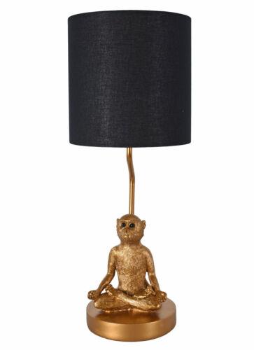 Tavolo Scimmia Posizione Fior di Loto Luce Oro Lampada Yoga 52cm Comodino Jungle